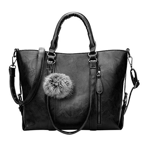 Women Ladies Vintage Pu Leather Solid Large Totes Women Laptop Handbag Crossbody Shoulder Bags (Black)