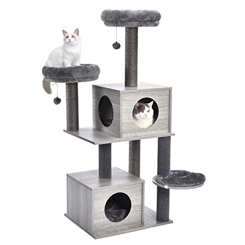 PAWZ Road 51 Inches Cat Tree Modern Cat Tower Featuring 2 Super Large Condos, Sturdy Scratching...