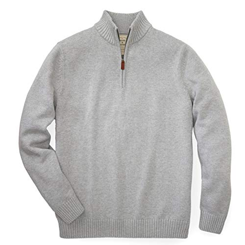 Hope & Henry Mens' Grey Sweater with Quarter Zipper