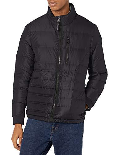 Calvin Klein Men's Lightweight Water Resistant Packable Down Puffer Jacket (Standard and Big & Tall), Ultra Black, Medium