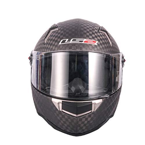 Lsrryd Casque Complet de Moto de Visage de Fibre de Carbone de LS2 FF396 12K Anti-buée Objectif Bluetooth Friendly (Taille : L(57-58CM))