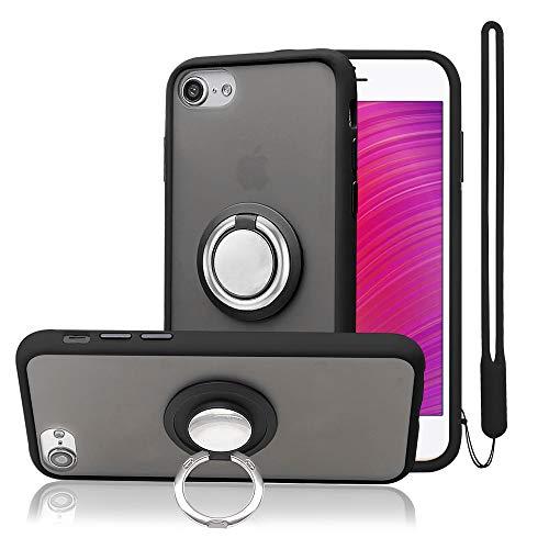 takyu Kompatibel mit iPhone 8 Hülle, iPhone 6/6s/7/SE 2020 Dünn PC Handyhülle + KFZ-Halterung 360°drehbarer Fingerhalter + Silikon Handgelenkband (Schwarz)