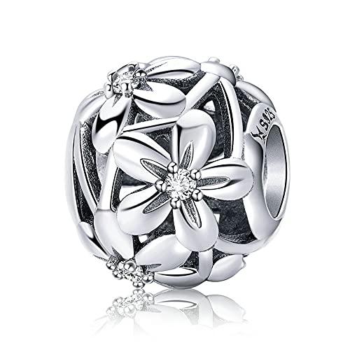 Pandora 925 Plata Pandach Flores Florecientes Abalorios Mujeres Encanto Pulseras Collares Joyería Que Hace Un Regalo Exquisito