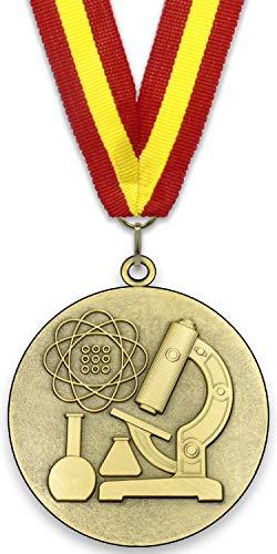 Medalla de Metal Personalizable - Ciencia - Color Oro - 6,4cm - Cinta Incluida - Colores de Cinta - Rojo-Amarillo-Rojo