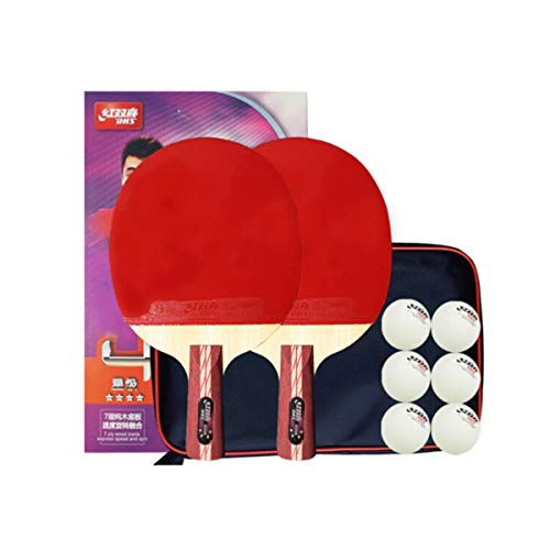 Find Bargain HUIJUNWENTI Table Tennis Racket 4 Star Set Pen-Hold Double-Sided Anti-Adhesive Amateur/Training/Entertainment/Competition (Table Tennis Racket 2 + 6 Ball + Table Tennis Bag) (Color : Red)