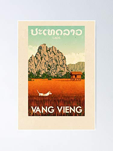 AZSTEEL Travel Posters - Vang Vieng Laos Poster Poster 11.7 * 16.5