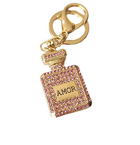 RKG Creativo Rhinestone botella de perfume Amor cristal encanto llavero regalo de cumpleaños