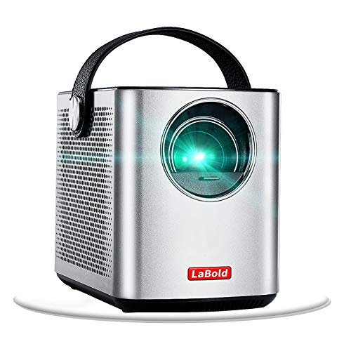 Mini Portable Projector with Battery, LaBold Upgrade Pico Projector for Home Theater and Outdoor Entertainment, Full HD 1080p LCD Video Projector with Loudspeaker for Movie TV Game