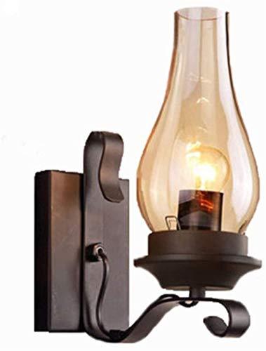 Lámpara industrial, Luces de pared industriales de la vendimia Lámpara de pared antigua de la sombra de cristal negra para el cuarto de baño Dormitorio Hallway Café porche iluminación de la pared deco