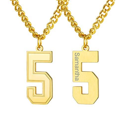 Collares Personalizados con Número 5 para Hombres y Mujeres Deportes Número Arabe Cuadrados Chapado en Oro Amarillo 18K Joyería de Buena Suerte Colgante Dorado Acero Inoxidable 316L