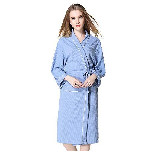 VJGOAL Mujer Invierno Moda Casual Bata de baño Color sólido Alargado Mantón Albornoz de Manga Larga Bata de Noche Bata Pijamas(Large,Azul)