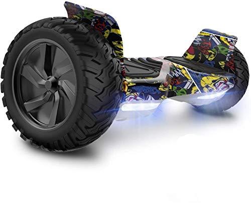 GeekMe Hoverboard Scooter Elettrico Fuoristrada Scooter Auto bilanciamento con Potente Motore LED luci Bluetooth per Adulti e Bambini. 8,5 Pollici
