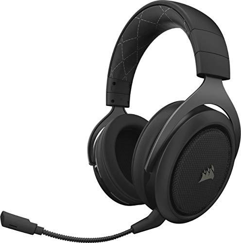 Corsair HS70 Wireless - Auriculares inalámbricos para juegos (sonido envolvente 7.1, con micrófono desmontable, para PC/PS4), Alcance máximo 12 Metros, Negro
