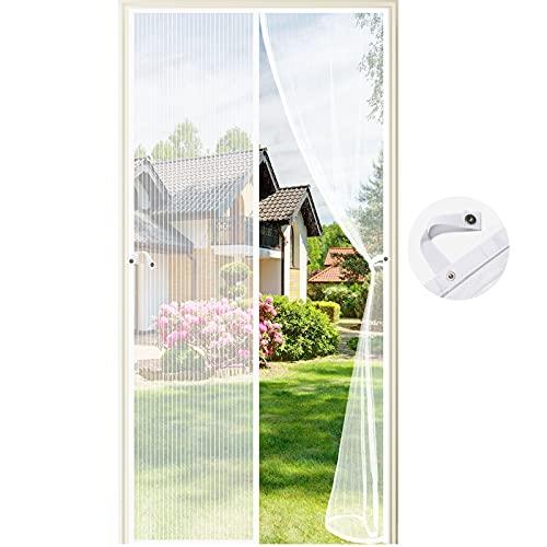 Fliegengitter Tür Magnetisch,110 x 220CM Moskitonetz Tür Insektenschutz Fliegenschutzvorhang Automatisch Verschließen Magnet für Balkontür Wohnzimmer Terrassentür, Klebemontage (Weiß)