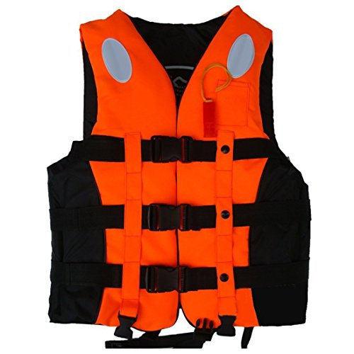 Yosoo Life Jacket Life Vests Swimming Vest Children and Adult Life Jacket Buoyancy Aid Universal Swimming Boating Kayaking Life Vest+Whistle (Orange, XL Adult Between 2.4-2.7ft Waistline)