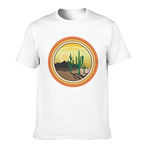 Camiseta de algodón para hombre, diseño de cactus blanco L