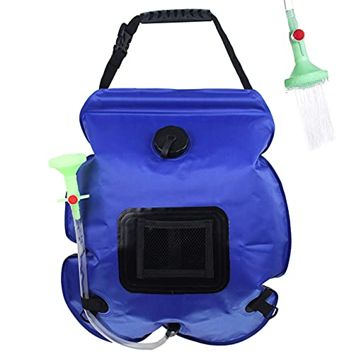 Halllo Bolsa de ducha solar portátil para exteriores, bolsa de agua desmontable con cabezal de ducha para camping, senderismo, escalada