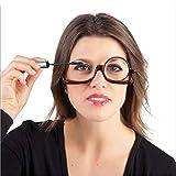 HQMGLASSES Gafas de Maquillaje rotativas para Mujer Gafas de Lectura óptica Marco Negro Flip +1.0 + 1.5 +2.0 +2.5 +3.0 +3.5,Negro,+350