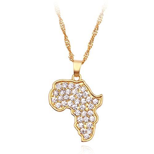Collar de mapa de África Bling Rhinestone Crystal Gold Color Hip Hop Cadena Hombres Mujeres Regalo Joyería africana Gargantilla Collares