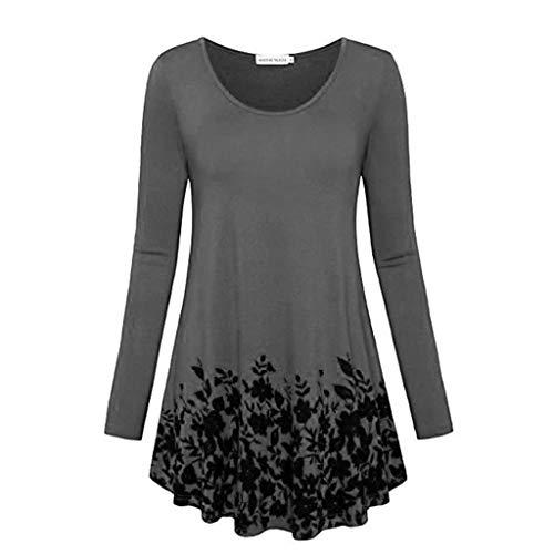 VECDY Damen Tshirt, Lässiger Pullover Mode Herbst Frauen O-Neck Print Pullover Grenze Temperament Lazy Street Bluse Elegant Oberteile