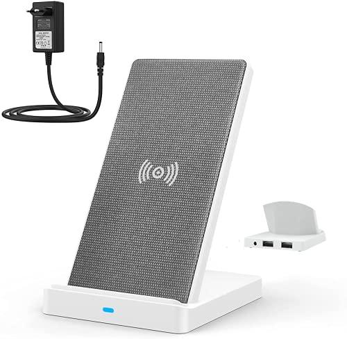 Lecone Caricatore Wireless con 2 Porta USB-A, Caricabatterie Rapido 3-in-1 Stazione di Ricarica...