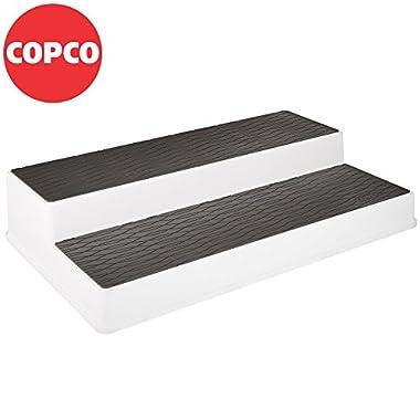 Copco 2555-0179 Non-Skid 2-Tier Spice Pantry Kitchen Cabinet Organizer, 15-Inch, White/Gray
