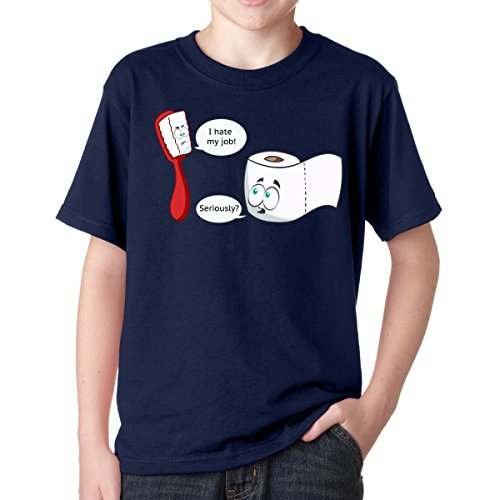 Gbond Apparel I Hate My Job Toothbrush Toilet Paper Funny Boys T-Shirt Youth Kids, Large, Navy