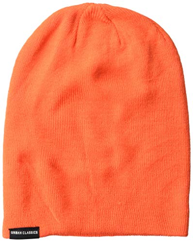 Urban Classics Unisex Neon Long Beanie Strickmütze, Orange (Orange 00180), (Herstellergröße: one Size)