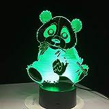 Nettes Bambuspandafarbnachtlichtschlafzimmer-Schlaflampentischlampenausgangsdekorationskunst-Dekorationskinder Geschenk