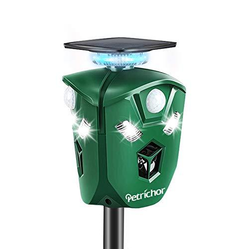 Repelente de animales ultrasónico de 360 °,Petrichor Repelente solar para gatos con batería recargable, resistente al agua, para mascotas, zorro, ahuyentador, para jardines al aire libre, pati