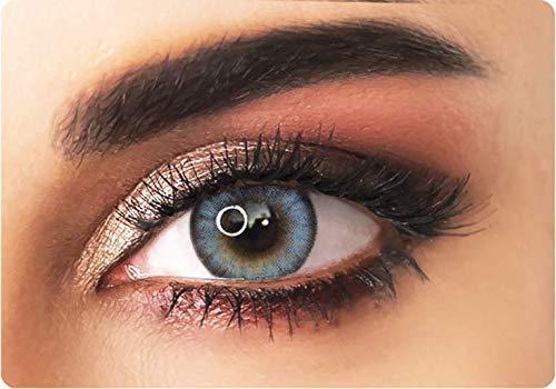 ADORE natürlich farbige Kontaktlinsen Farbe hellblau – BI AQUA – nicht gradiert – dreimonatlich + kostenloser personalisierter Linsenbehälter