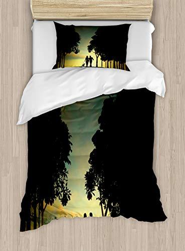 ABAKUHAUS Bos Dekbedovertrekset, Paar met Hond en Trees, Decoratieve 2-delige Bedset met 1 siersloop, 130 cm x 200 cm, Veelkleurig