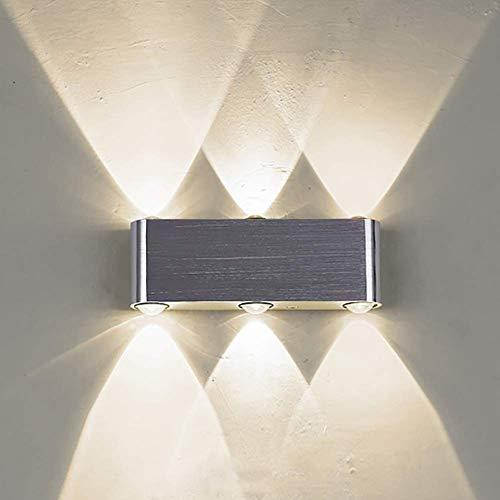 Meixian Moderne buitenwandlamp, up- en downlicht, led 6 W witte wandlamp, IP65 bedlampje, wandlamp voor hal en deur, garage, binnenplaats, warm, retro