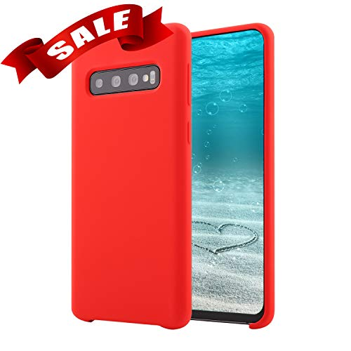 FFitCare for Galaxy S10 - Phone Silicone Case - Liquid Air - Protective Cell Phone Case - Red
