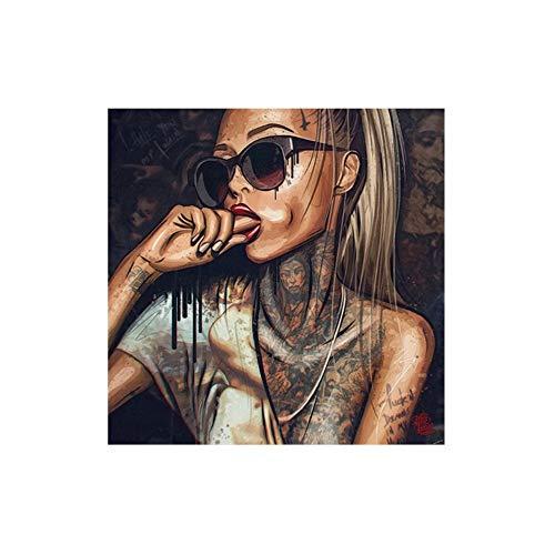 SHENLANYU Belleza Sexy Tatuaje Gafas de Sol Hip Hop Mujer Lienzo Pintura Personaje Carteles Arte de la Pared Imágenes para la Sala de Estar Decoración del hogar23.6 x 23.6' (60x60cm) Sin Marco