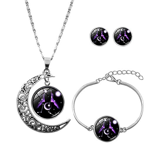 12 Zodiac Constellation Crescent Pendant with Alloy Silver Plated Luminous Glass Coin Necklace Accessories Mom Women Girls Festival Gift Earring Bracelet Jewelry Set