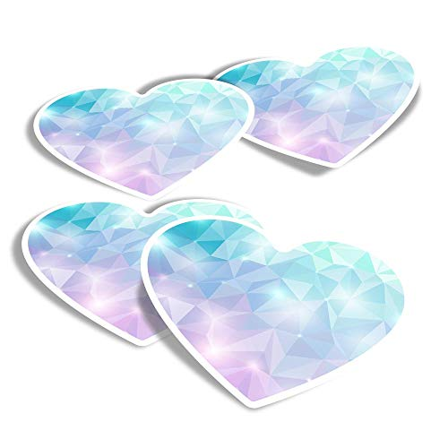 Vinyl Heart Stickers (Set of 4) - Abstract Diamond Crystal Fun Decals for Laptops,Tablets,Luggage,Scrap Booking,Fridges #2667