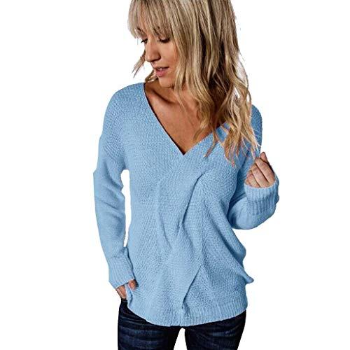 Suéter de Punto de Manga Larga con Cuello en V para Mujer Jersey de Punto Ligero cómodo Elegante Tops Outwear cálida cómoda Informal de Fiesta otoño e Invierno(Azul,M)
