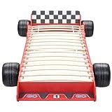 vidaXL Cama con forma de coche de carreras para ni?os 90x200 cm roja