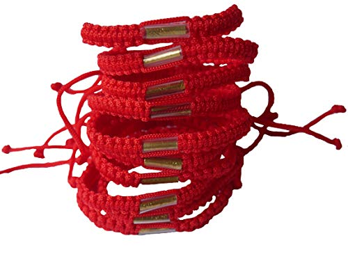 Lot of Red Color Handmade Buddhist Thai Wristband Brass Amulet Blessed Karma Good Luck Love Friendship Yoga Meditation Mindfulness Bracelet (Set 20pcs)