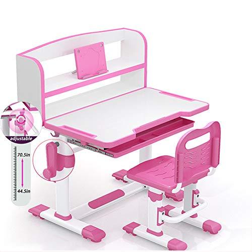 CHAIJY HöHenverstellbarer Kinderschreibtisch HöHenverstellbarer Kinderschreibtisch Und Stuhl Kinderstudientisch Mit BüCherstäNder Und Schublade, Gekippte 0-50,Pink