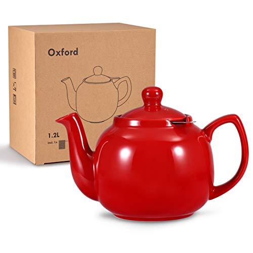 Urban Lifestyle Teekanne/Teapot Klassisch Englische Form aus Keramik Oxford 1,2L mit Teefilter aus Edelstahl (Rot)