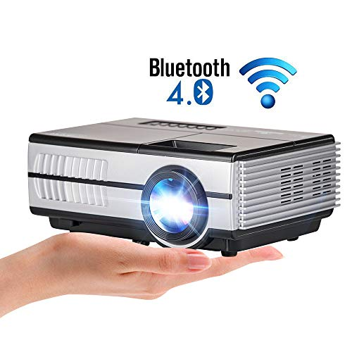 Portable Mini Projector WiFi Bluetooth HDMI Video Projector 2800 Lumen Wireless Home Theater Outdoor Movie Gaming Projector Built-in Speaker Support 1080P for Smartphone Fire TV Stick TV Box PS4 PC