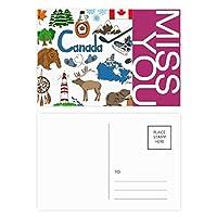 カナダ風景動物の国旗 ポストカードセットサンクスカード郵送側20個ミス