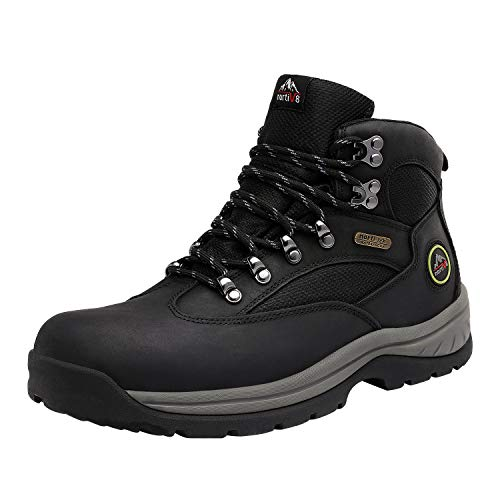 NORTIV 8 Men's Waterproof Hiking Boots Mid Ankle Leather Hiker Backpacking Work Boots Black Size 11 M US Rockfor