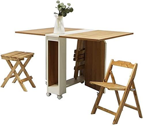 ZGYZ Moderne Möbel Spanplatte Faltbare Drop Leaf Esstisch Küchentisch Klapp Computer Schreibtisch Workstation für kleinen Raum mit 4 Stowaway Klappstühlen