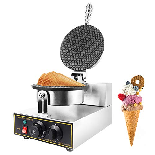 Dyna-Living Ice Cream Cone Machine with Non-stick Waffle Maker Machine Egg Roll Bowl Machine Electric 110V 1200W Stainless Steel Waffle Cone Maker for Commercial Home Use