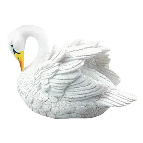 Oksea Weiße Schwan Figur Lockvögel Weiße Schwan Lockvögel Floating Lebensecht Schwimmend Teich Garten Dekoration Gartenfigur Vogel Jagd Köder für Pool Teich (Weiß)