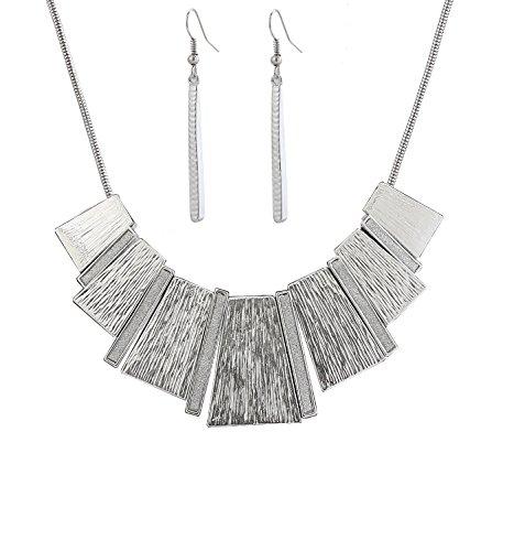 HSWE Conjunto de Collar con Colgante de Barra de trapezoide esmaltado, con Colgante de Barra y Pendientes Colgantes
