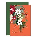 Carte de voeux 2021 • Feuilles et Fleurs de Noël • Lot de 16 Cartes • Papier haut de gamme • 16 Enveloppes Vert Impérial • 12x17 cm Pliée • Idéal pour souhaiter la Bonne Année et Nouvel An • Popcarte